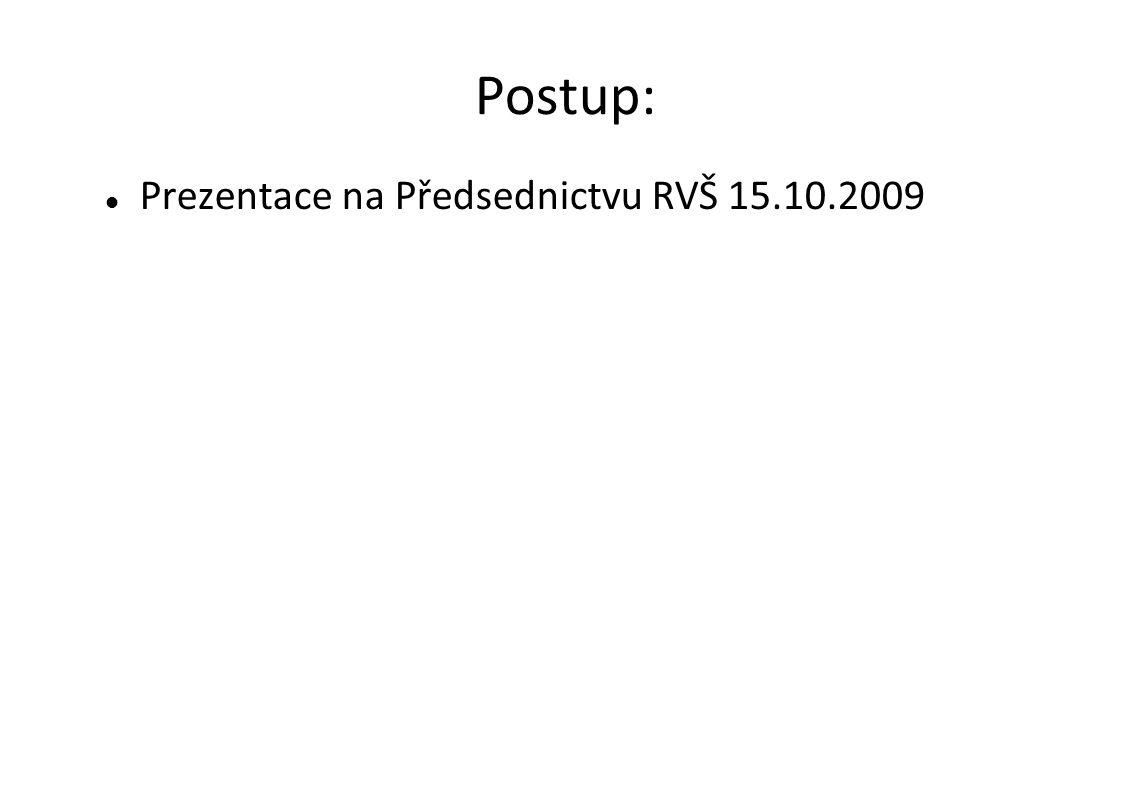 Postup:  Prezentace na Předsednictvu RVŠ 15.10.2009