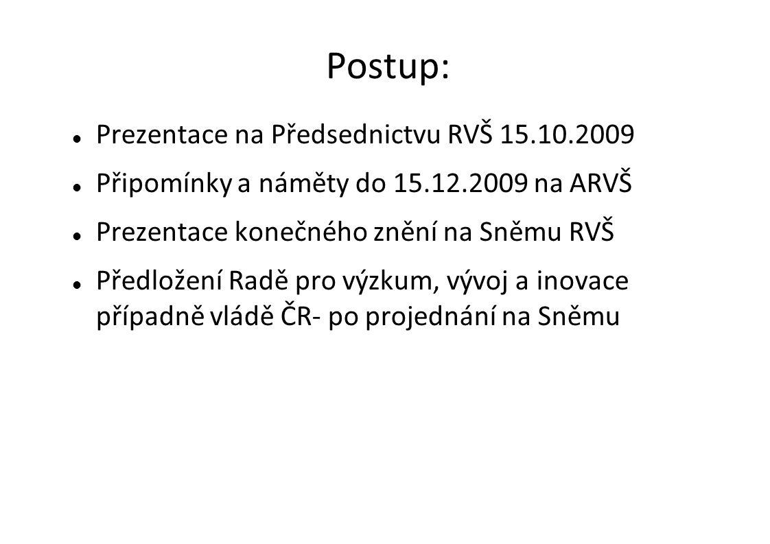 Postup:  Prezentace na Předsednictvu RVŠ 15.10.2009  Připomínky a náměty do 15.12.2009 na ARVŠ  Prezentace konečného znění na Sněmu RVŠ  Předložení Radě pro výzkum, vývoj a inovace případně vládě ČR- po projednání na Sněmu
