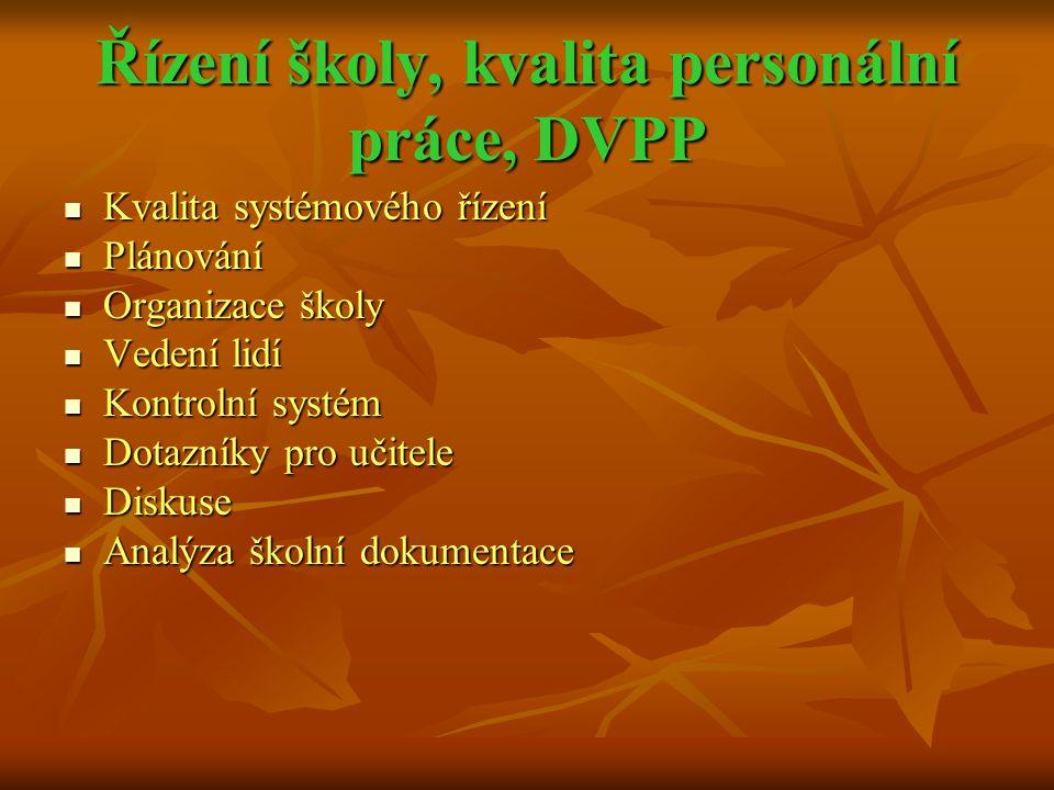 Řízení školy, kvalita personální práce, DVPP  Kvalita systémového řízení  Plánování  Organizace školy  Vedení lidí  Kontrolní systém  Dotazníky