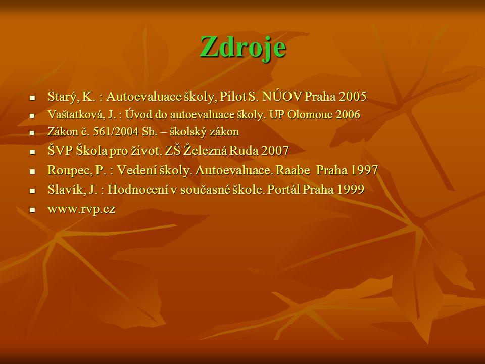 Zdroje  Starý, K. : Autoevaluace školy, Pilot S. NÚOV Praha 2005  Vaštatková, J. : Úvod do autoevaluace školy. UP Olomouc 2006  Zákon č. 561/2004 S