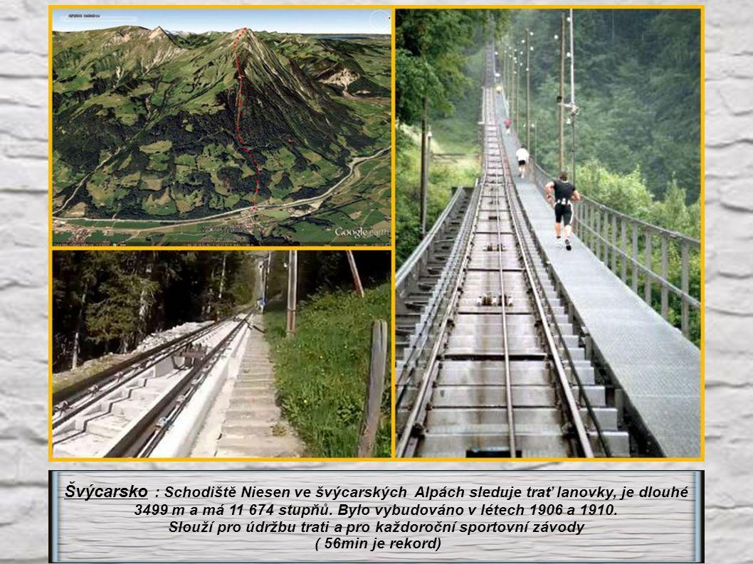 Švýcarsko : Schodiště Niesen ve švýcarských Alpách sleduje trať lanovky, je dlouhé 3499 m a má 11 674 stupňů.