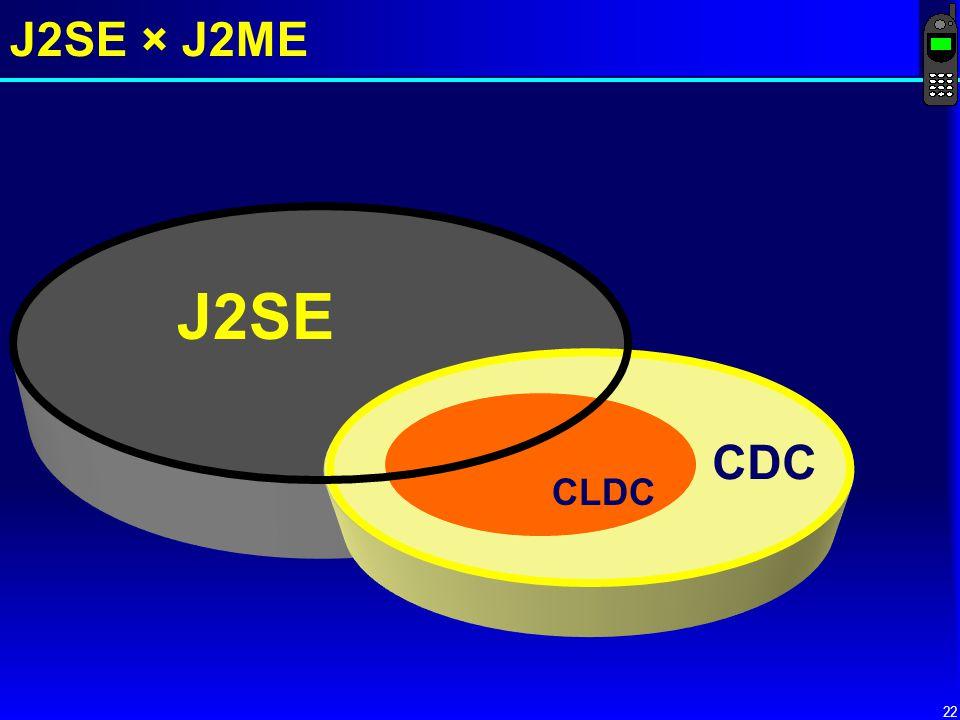 22 J2SE × J2ME J2SE CDC CLDC