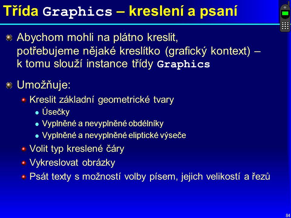 84 Třída Graphics – kreslení a psaní Abychom mohli na plátno kreslit, potřebujeme nějaké kreslítko (grafický kontext) – k tomu slouží instance třídy Graphics Umožňuje: Kreslit základní geometrické tvary l Úsečky l Vyplněné a nevyplněné obdélníky l Vyplněné a nevyplněné eliptické výseče Volit typ kreslené čáry Vykreslovat obrázky Psát texty s možností volby písem, jejich velikostí a řezů