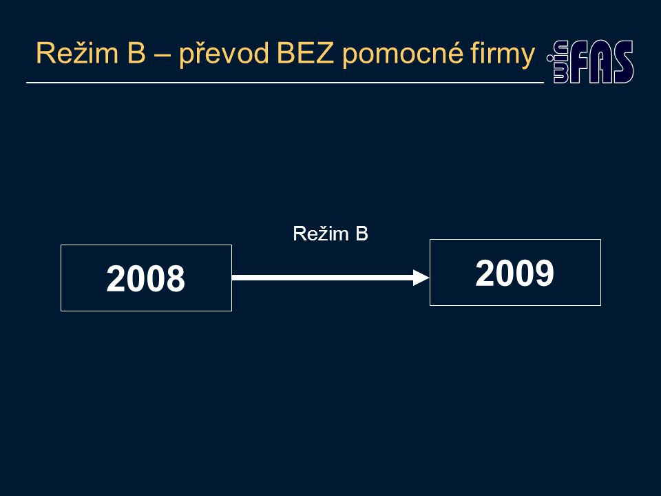 Režim B – převod BEZ pomocné firmy •Co se v tomto režimu s firmou děje.