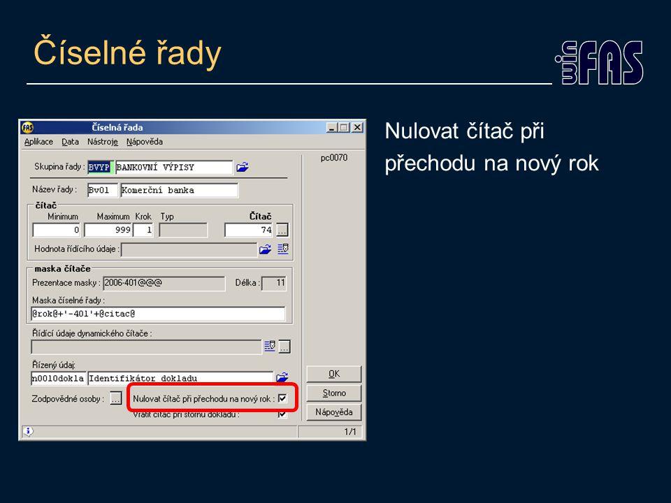 Číselník účetních knih Kód knihy pro nové období (záložka Parametry 2) Přenos saldokontní knihy do nového období (záložka Parametry 2)