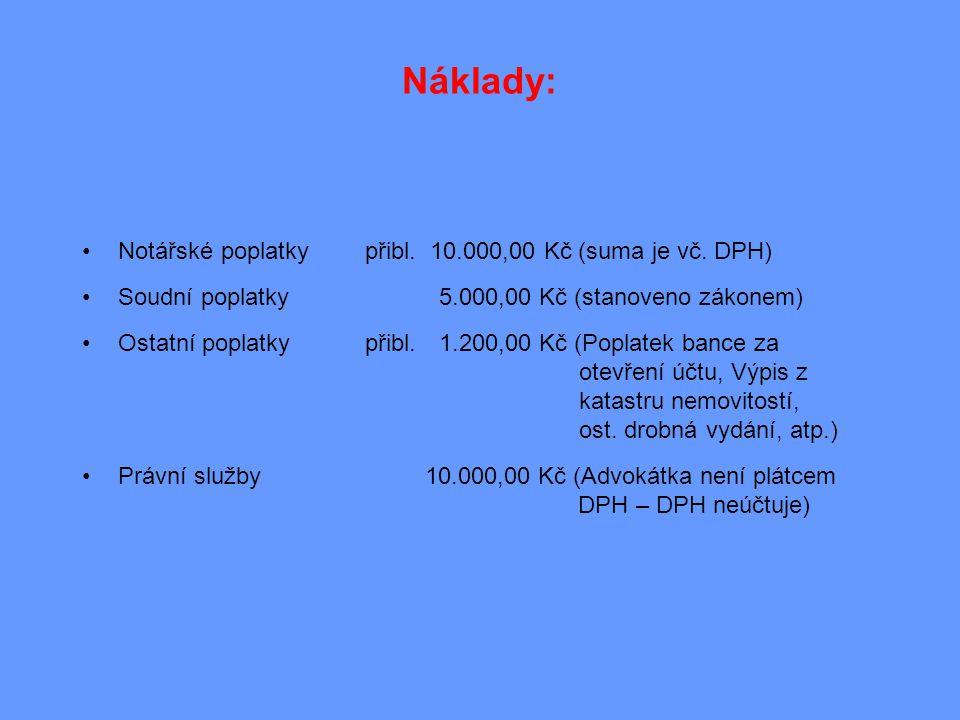 Náklady: •Notářské poplatky přibl. 10.000,00 Kč (suma je vč. DPH) •Soudní poplatky 5.000,00 Kč (stanoveno zákonem) •Ostatní poplatkypřibl.1.200,00 Kč