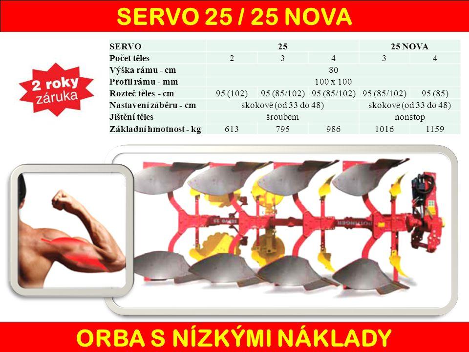 SERVO 25 / 25 NOVA ORBA S NÍZKÝMI NÁKLADY SERVO2525 NOVA Počet těles23434 Výška rámu - cm80 Profil rámu - mm100 x 100 Rozteč těles - cm95 (102)95 (85/