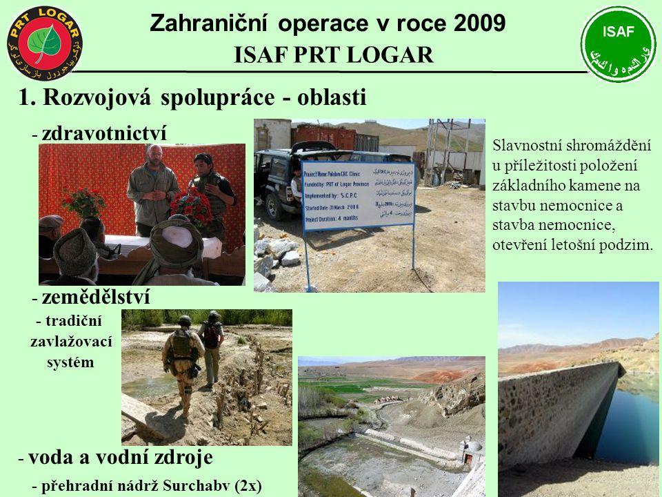 1. Rozvojová spolupráce - oblasti - zdravotnictví - zemědělství - tradiční zavlažovací systém - voda a vodní zdroje - přehradní nádrž Surchabv (2x) Za