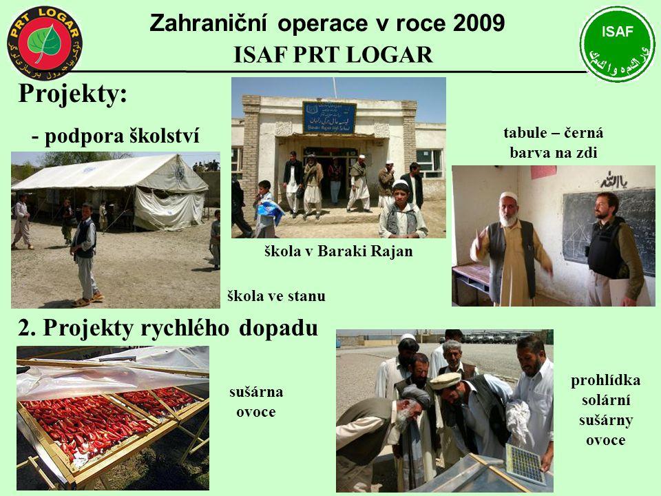 Projekty: - podpora školství 2. Projekty rychlého dopadu Zahraniční operace v roce 2009 ISAF PRT LOGAR prohlídka solární sušárny ovoce sušárna ovoce š