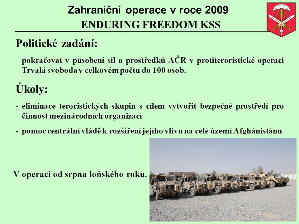 ENDURING FREEDOM KSS Zahraniční operace v roce 2009 Politické zadání: -pokračovat v působení sil a prostředků AČR v protiteroristické operaci Trvalá s