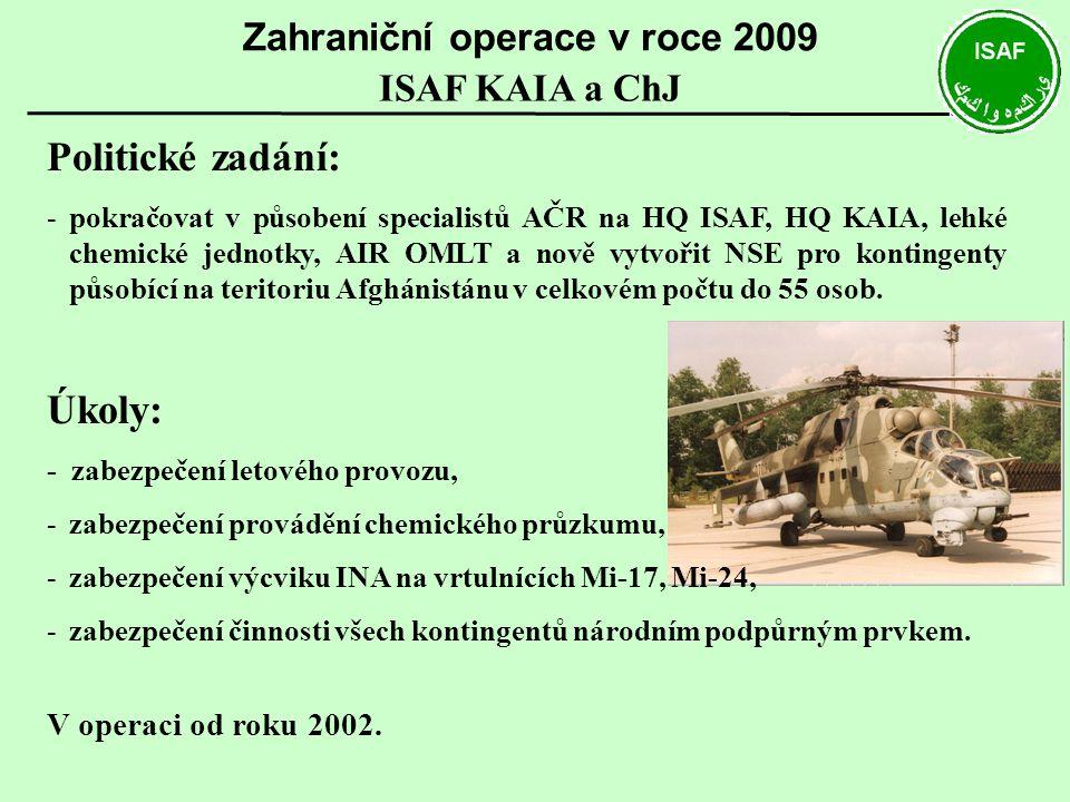 Politické zadání: -pokračovat v působení specialistů AČR na HQ ISAF, HQ KAIA, lehké chemické jednotky, AIR OMLT a nově vytvořit NSE pro kontingenty pů