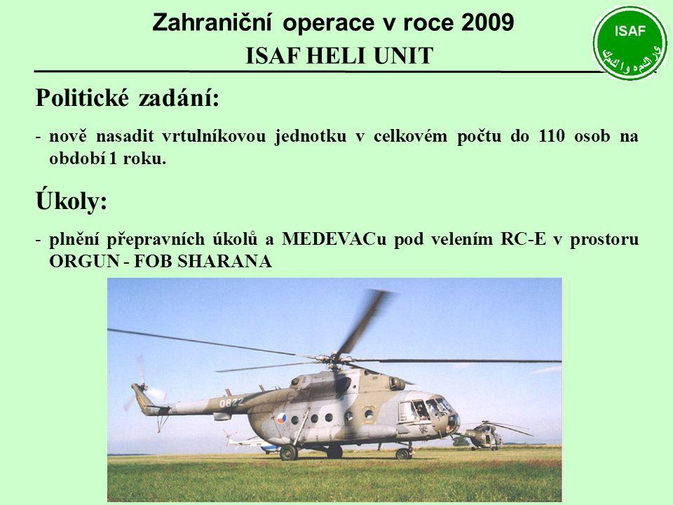 ISAF HELI UNIT Zahraniční operace v roce 2009 Politické zadání: -nově nasadit vrtulníkovou jednotku v celkovém počtu do 110 osob na období 1 roku. Úko