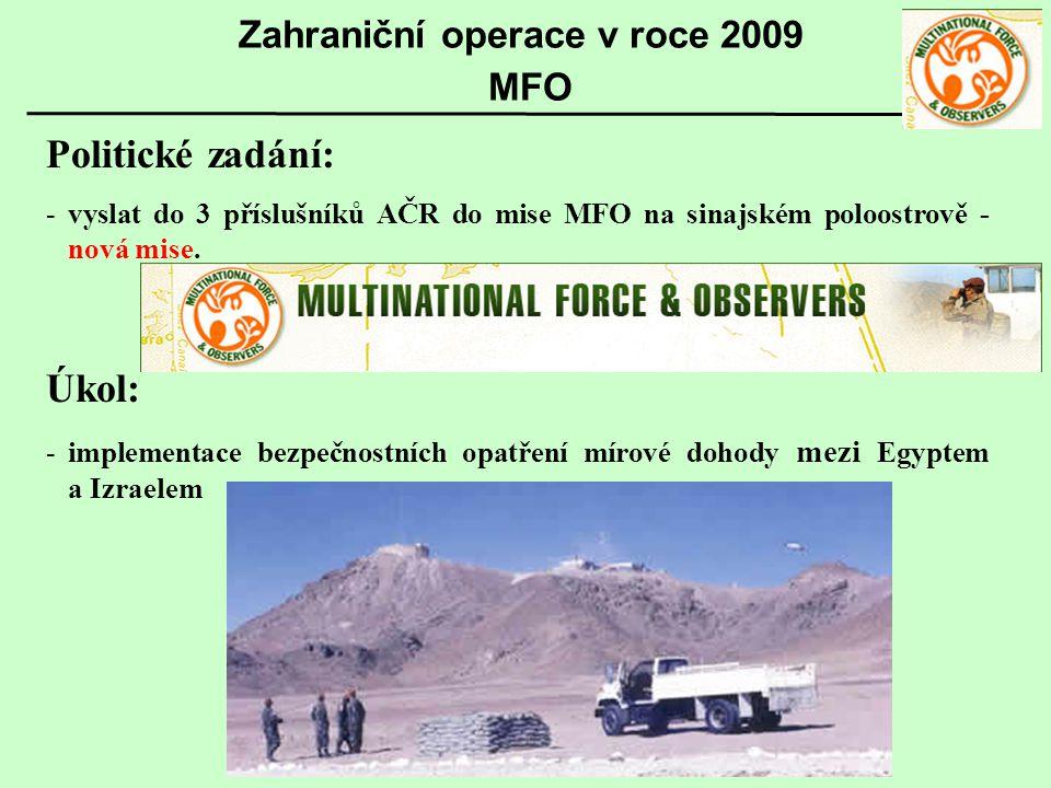 Politické zadání: -vyslat do 3 příslušníků AČR do mise MFO na sinajském poloostrově - nová mise. Úkol: -implementace bezpečnostních opatření mírové do