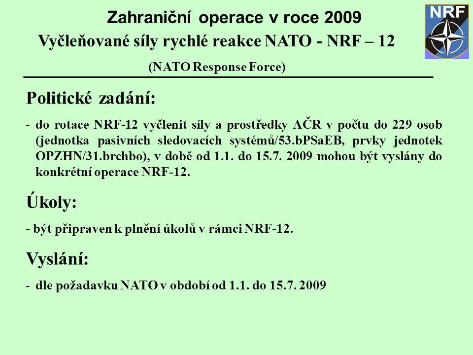 Politické zadání: -do rotace NRF-12 vyčlenit síly a prostředky AČR v počtu do 229 osob (jednotka pasivních sledovacích systémů/53.bPSaEB, prvky jednotek OPZHN/31.brchbo), v době od 1.1.