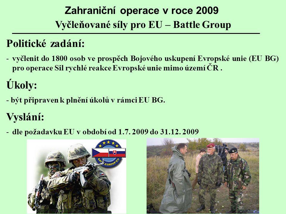Politické zadání: -vyčlenit do 1800 osob ve prospěch Bojového uskupení Evropské unie (EU BG) pro operace Sil rychlé reakce Evropské unie mimo území ČR