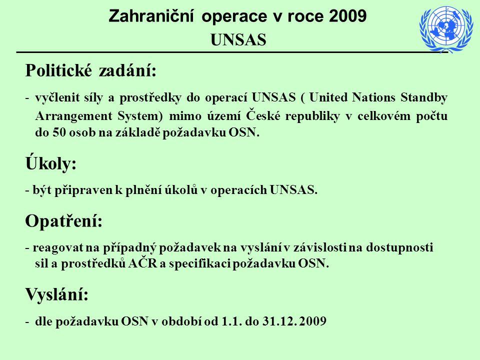 Politické zadání: -vyčlenit síly a prostředky do operací UNSAS ( United Nations Standby Arrangement System) mimo území České republiky v celkovém počt