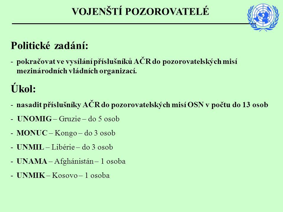 Politické zadání: -pokračovat ve vysílání příslušníků AČR do pozorovatelských misí mezinárodních vládních organizací.