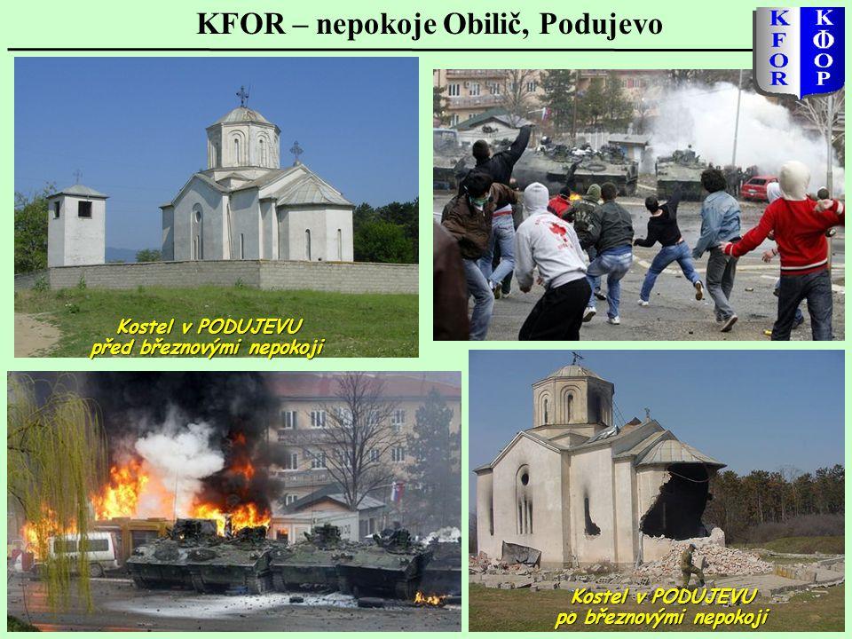 KFOR – nepokoje Obilič, Podujevo Kostel v PODUJEVU před březnovými nepokoji Kostel v PODUJEVU po březnovými nepokoji