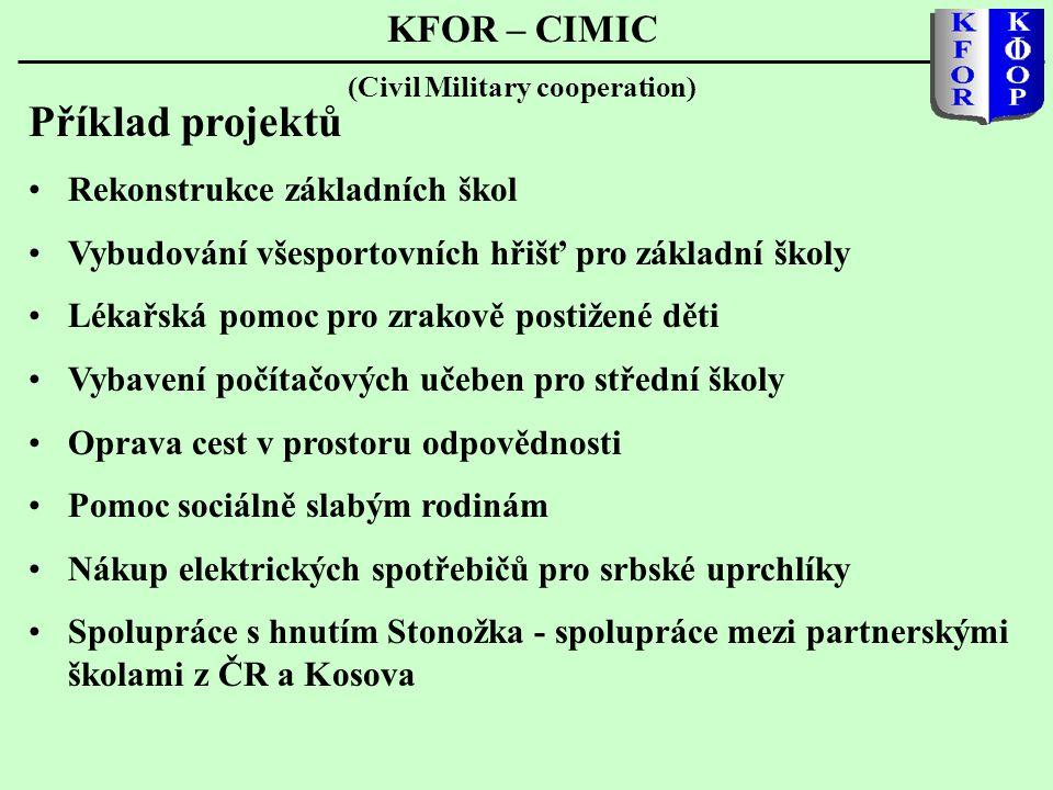 KFOR – CIMIC (Civil Military cooperation) Příklad projektů •Rekonstrukce základních škol •Vybudování všesportovních hřišť pro základní školy •Lékařská pomoc pro zrakově postižené děti •Vybavení počítačových učeben pro střední školy •Oprava cest v prostoru odpovědnosti •Pomoc sociálně slabým rodinám •Nákup elektrických spotřebičů pro srbské uprchlíky •Spolupráce s hnutím Stonožka - spolupráce mezi partnerskými školami z ČR a Kosova
