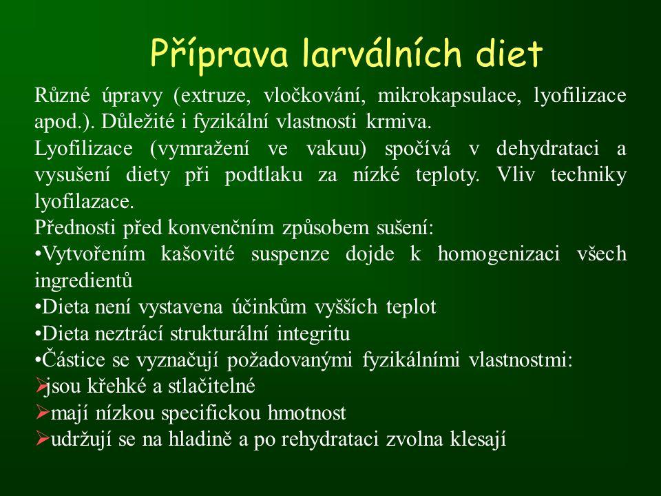 Příprava larválních diet Různé úpravy (extruze, vločkování, mikrokapsulace, lyofilizace apod.).