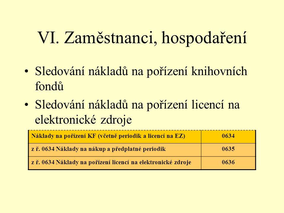 VI. Zaměstnanci, hospodaření •Sledování nákladů na pořízení knihovních fondů •Sledování nákladů na pořízení licencí na elektronické zdroje Náklady na