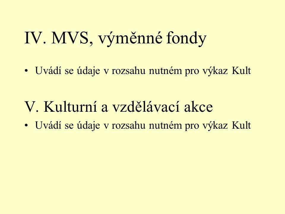 IV. MVS, výměnné fondy •Uvádí se údaje v rozsahu nutném pro výkaz Kult V.