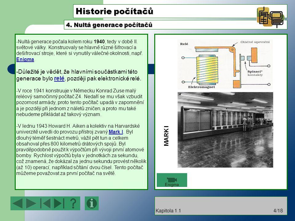 Historie počítačů -Nultá generace počala kolem roku 1940, tedy v době II.