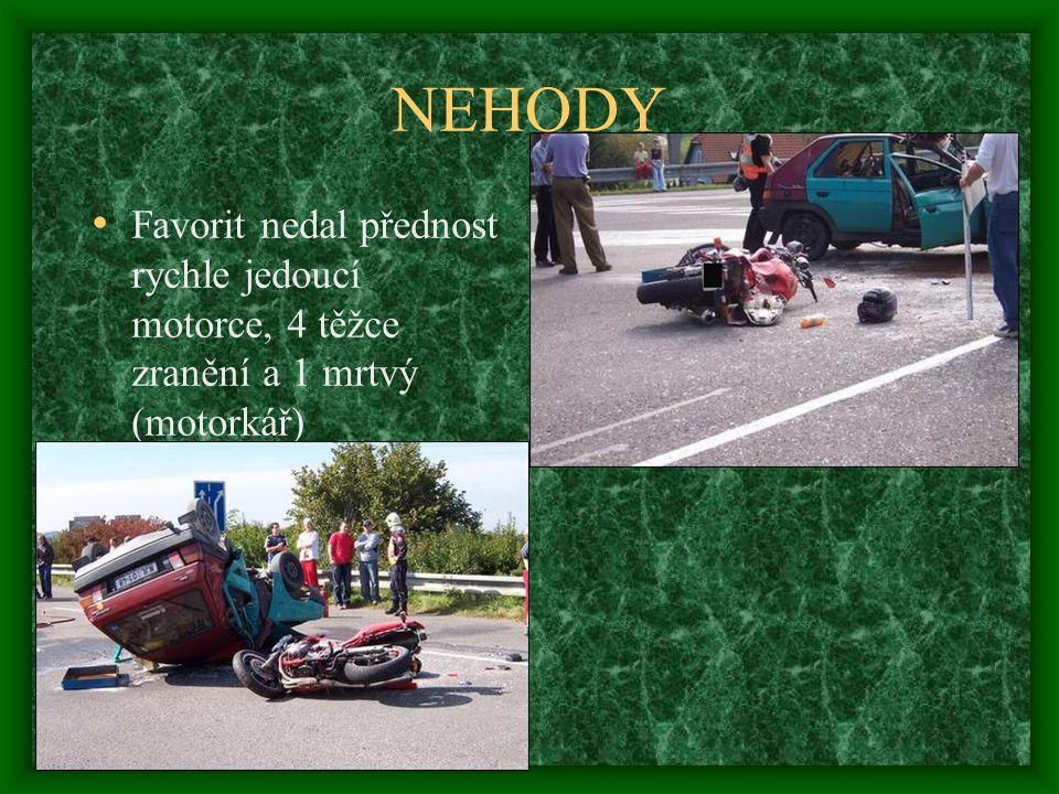 NEHODY • Favorit nedal přednost rychle jedoucí motorce, 4 těžce zranění a 1 mrtvý (motorkář)