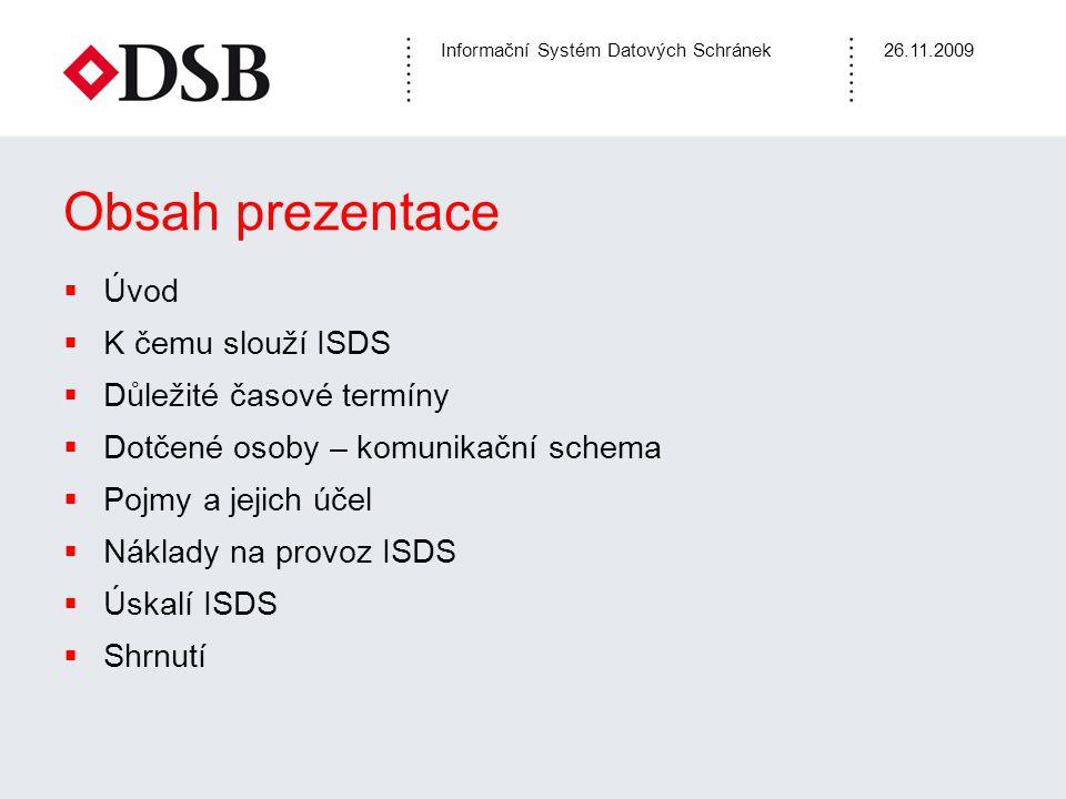 Informační Systém Datových Schránek26.11.2009 Obsah prezentace  Úvod  K čemu slouží ISDS  Důležité časové termíny  Dotčené osoby – komunikační sch
