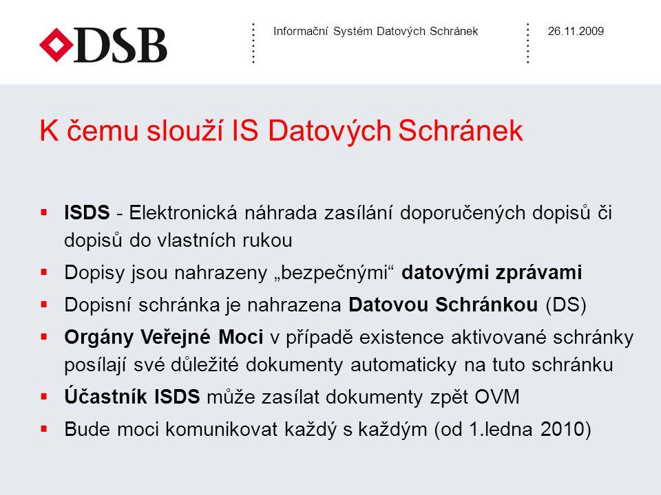 Informační Systém Datových Schránek26.11.2009 K čemu slouží IS Datových Schránek  ISDS - Elektronická náhrada zasílání doporučených dopisů či dopisů