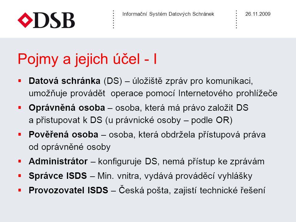Informační Systém Datových Schránek26.11.2009 Pojmy a jejich účel - II  Zřízení datové schránky (DS) –žádost o zřízení datové schránky (fyzické osoby), vyplnit formulář (na webu), vytisknout, podat a podepsat na Czechpoint, DS zřízena do 3 dnů –Datová schránka právnické osoby zřízena MV bezdokladně po obdržení zápisu do OR –Každá osoba (fyzická, právnická) má nárok na 1 DS, OVM mohou mít více schránek  Zpřístupnění DS – po 1.