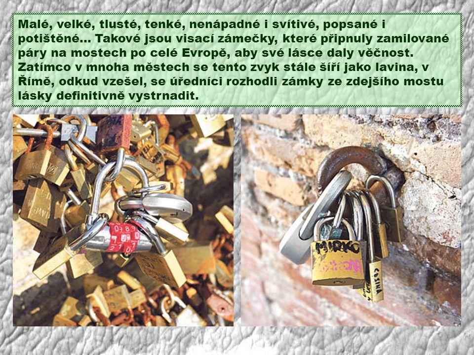 Malé, velké, tlusté, tenké, nenápadné i svítivé, popsané i potištěné… Takové jsou visací zámečky, které připnuly zamilované páry na mostech po celé Evropě, aby své lásce daly věčnost.