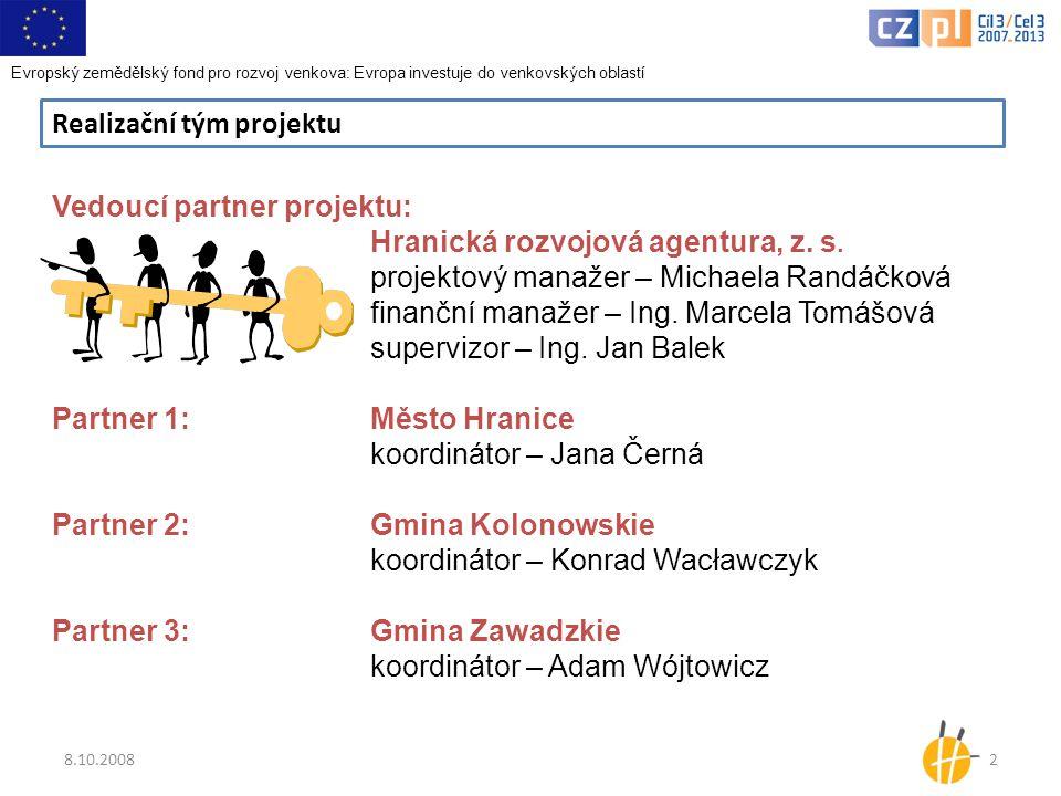 8.10.20082 Realizační tým projektu Vedoucí partner projektu: Hranická rozvojová agentura, z.