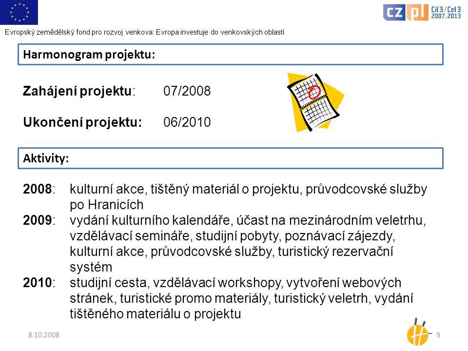 8.10.20089 Harmonogram projektu: Zahájení projektu:07/2008 Ukončení projektu:06/2010 Aktivity: 2008: kulturní akce, tištěný materiál o projektu, průvo