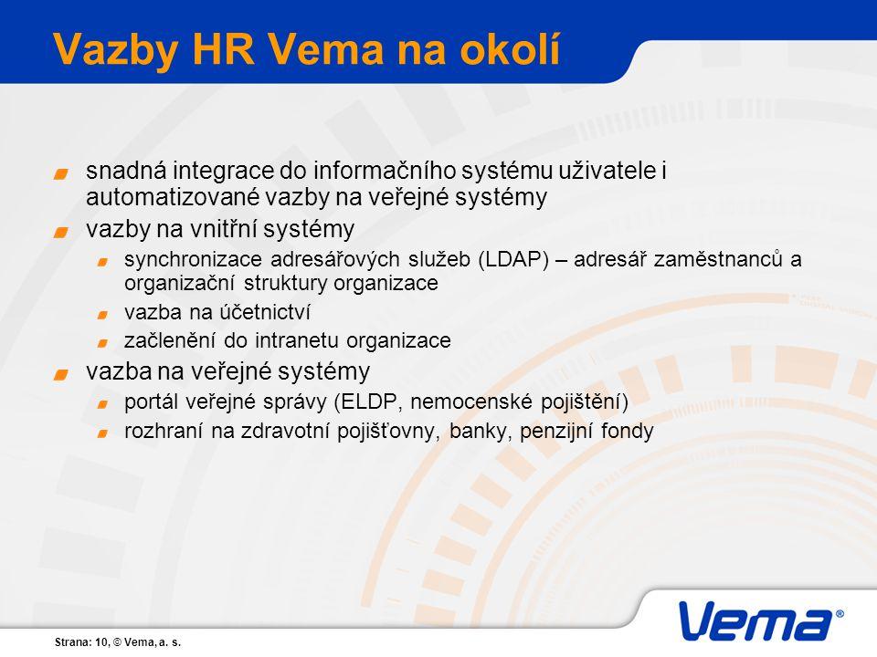 Strana: 10, © Vema, a. s. Vazby HR Vema na okolí snadná integrace do informačního systému uživatele i automatizované vazby na veřejné systémy vazby na
