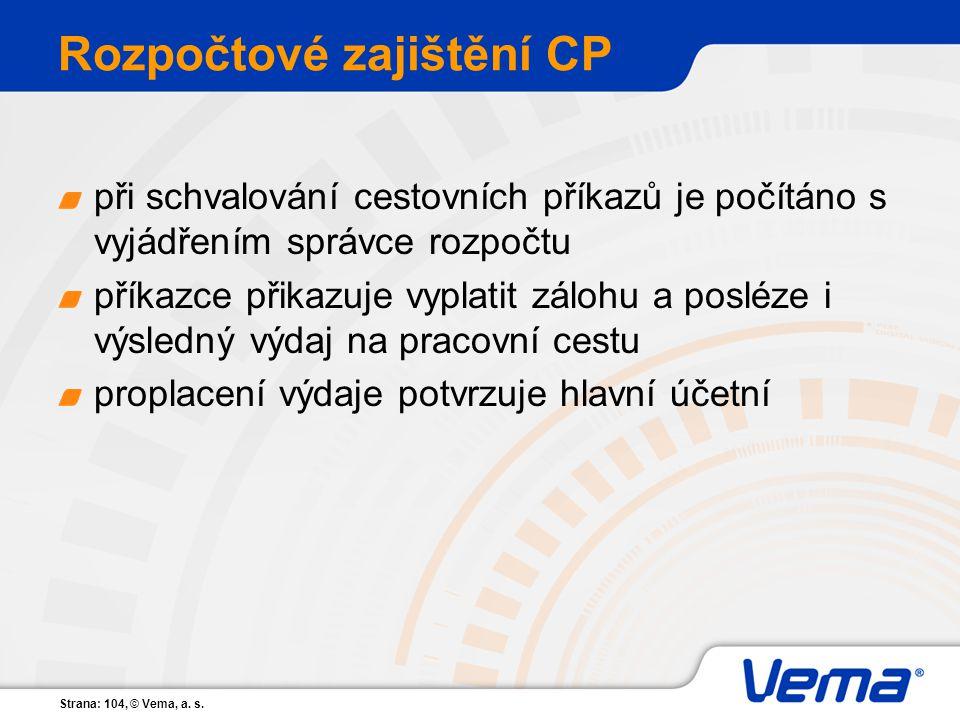 Strana: 104, © Vema, a. s. Rozpočtové zajištění CP při schvalování cestovních příkazů je počítáno s vyjádřením správce rozpočtu příkazce přikazuje vyp