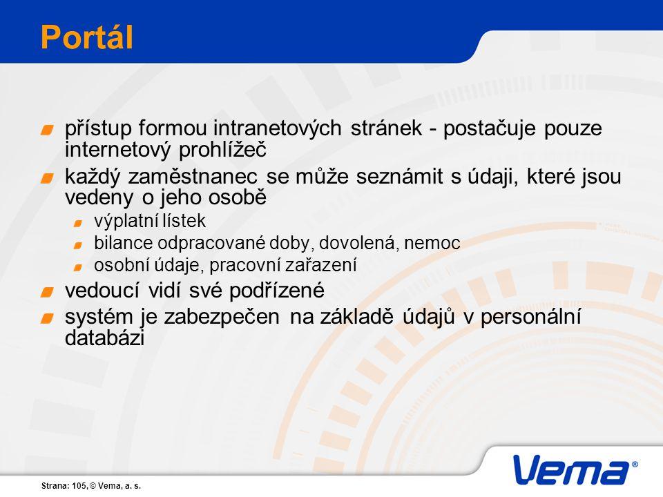 Strana: 105, © Vema, a. s. Portál přístup formou intranetových stránek - postačuje pouze internetový prohlížeč každý zaměstnanec se může seznámit s úd