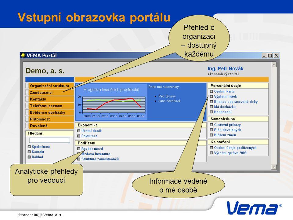 Strana: 106, © Vema, a. s. Vstupní obrazovka portálu Přehled o organizaci – dostupný každému Informace vedené o mé osobě Analytické přehledy pro vedou