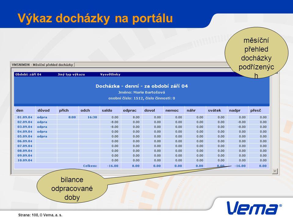 Strana: 108, © Vema, a. s. Výkaz docházky na portálu měsíční přehled docházky podřízenýc h bilance odpracované doby