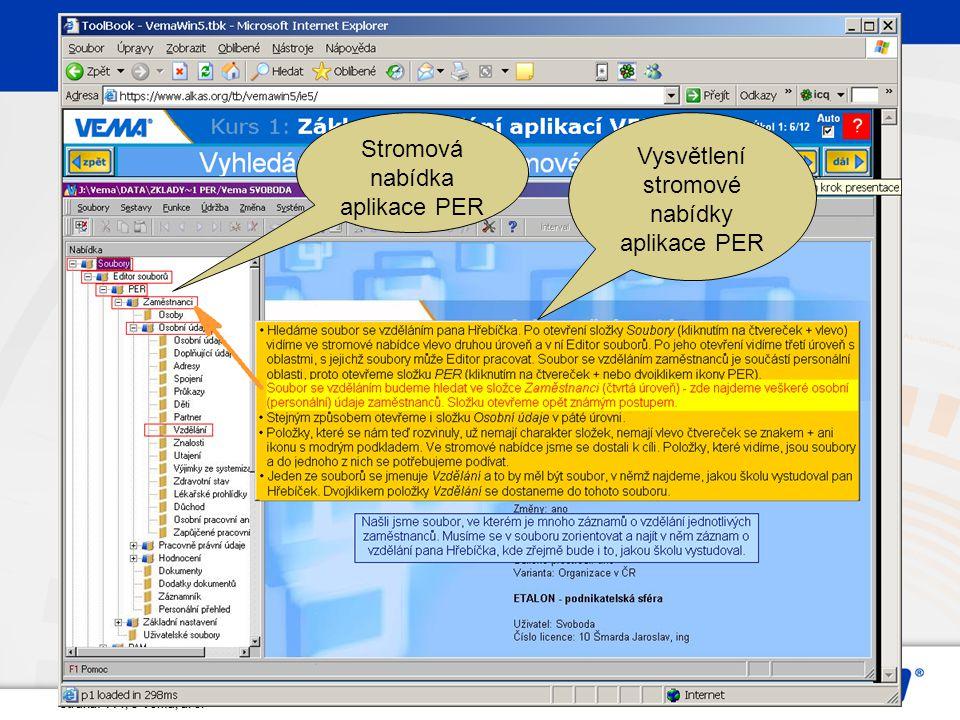 Strana: 114, © Vema, a. s. Vysvětlení stromové nabídky aplikace PER Stromová nabídka aplikace PER