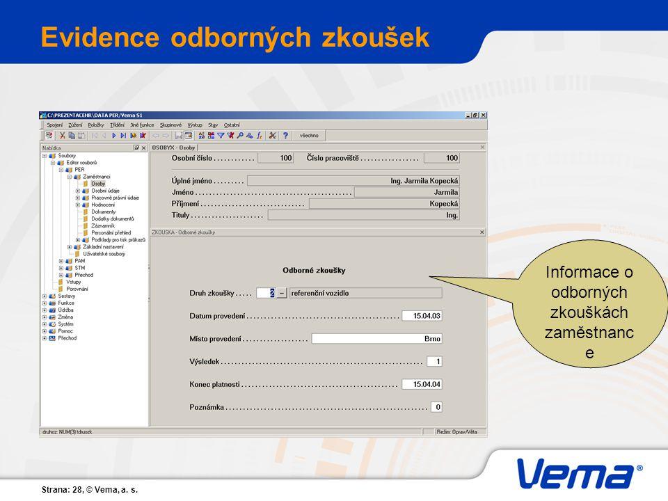 Strana: 28, © Vema, a. s. Evidence odborných zkoušek Informace o odborných zkouškách zaměstnanc e