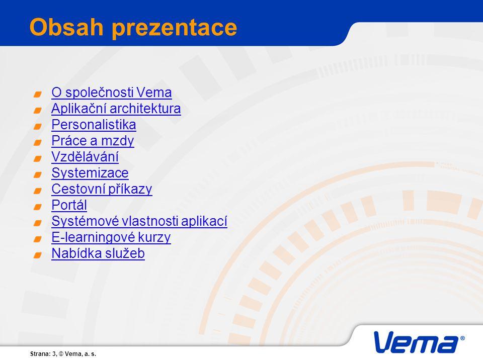 Strana: 3, © Vema, a. s. Obsah prezentace O společnosti Vema Aplikační architektura Personalistika Práce a mzdy Vzdělávání Systemizace Cestovní příkaz