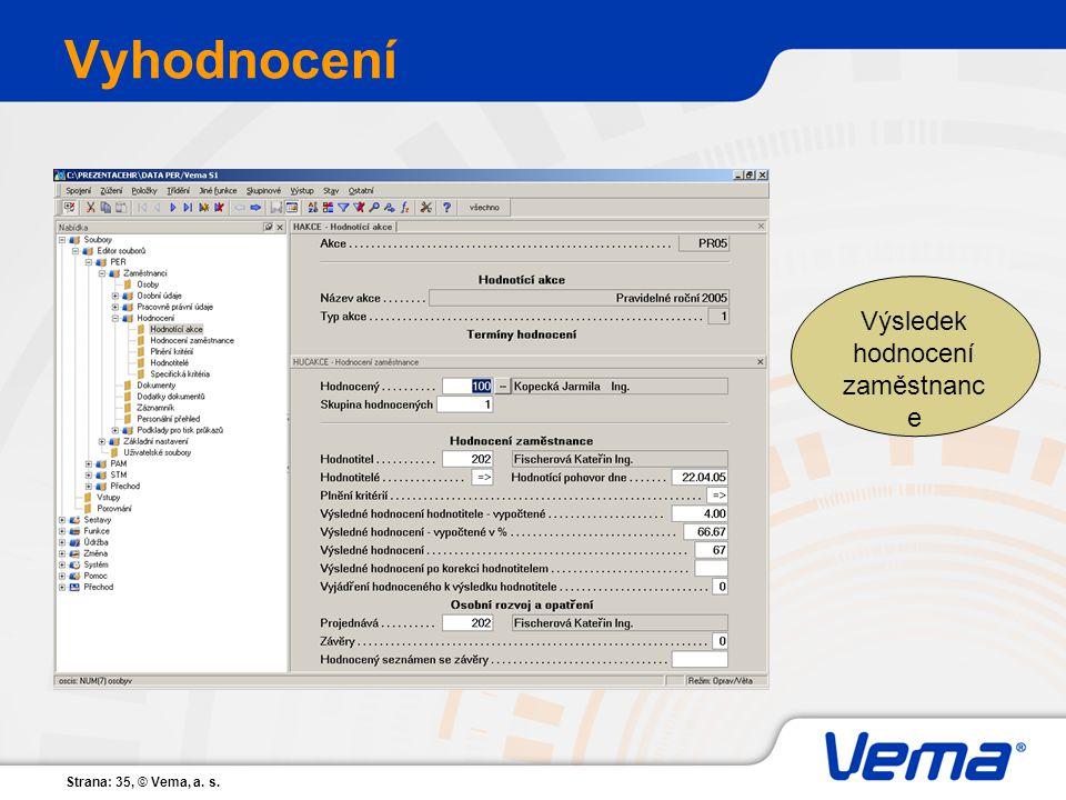 Strana: 35, © Vema, a. s. Vyhodnocení Výsledek hodnocení zaměstnanc e