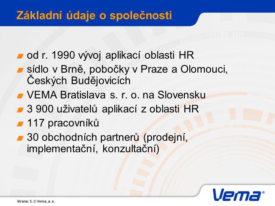 Strana: 5, © Vema, a. s. Základní údaje o společnosti od r. 1990 vývoj aplikací oblasti HR sídlo v Brně, pobočky v Praze a Olomouci, Českých Budějovic