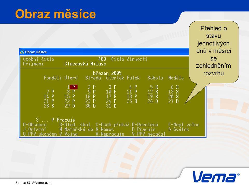 Strana: 57, © Vema, a. s. Obraz měsíce Přehled o stavu jednotlivých dnů v měsíci se zohledněním rozvrhu