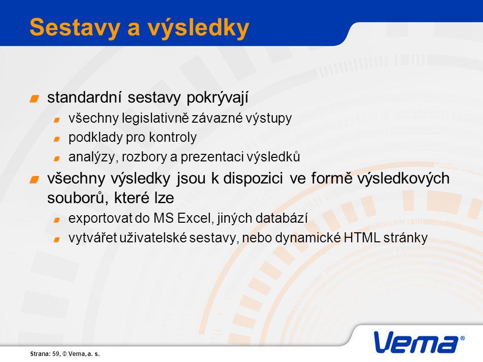 Strana: 59, © Vema, a. s. Sestavy a výsledky standardní sestavy pokrývají všechny legislativně závazné výstupy podklady pro kontroly analýzy, rozbory