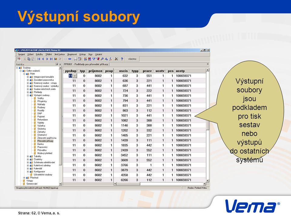 Strana: 62, © Vema, a. s. Výstupní soubory jsou podkladem pro tisk sestav nebo výstupů do ostatních systémů