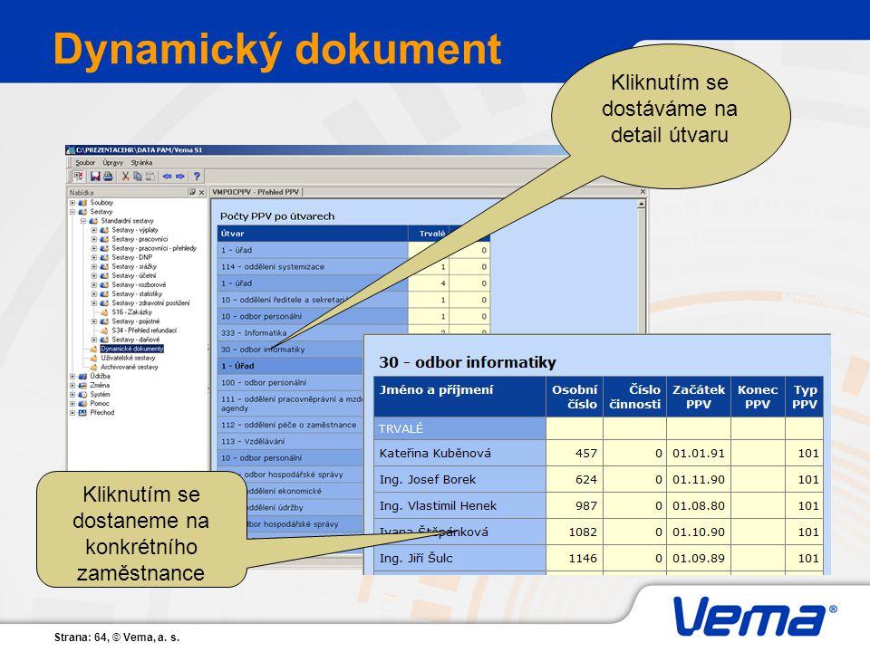Strana: 64, © Vema, a. s. Dynamický dokument Kliknutím se dostáváme na detail útvaru Kliknutím se dostaneme na konkrétního zaměstnance