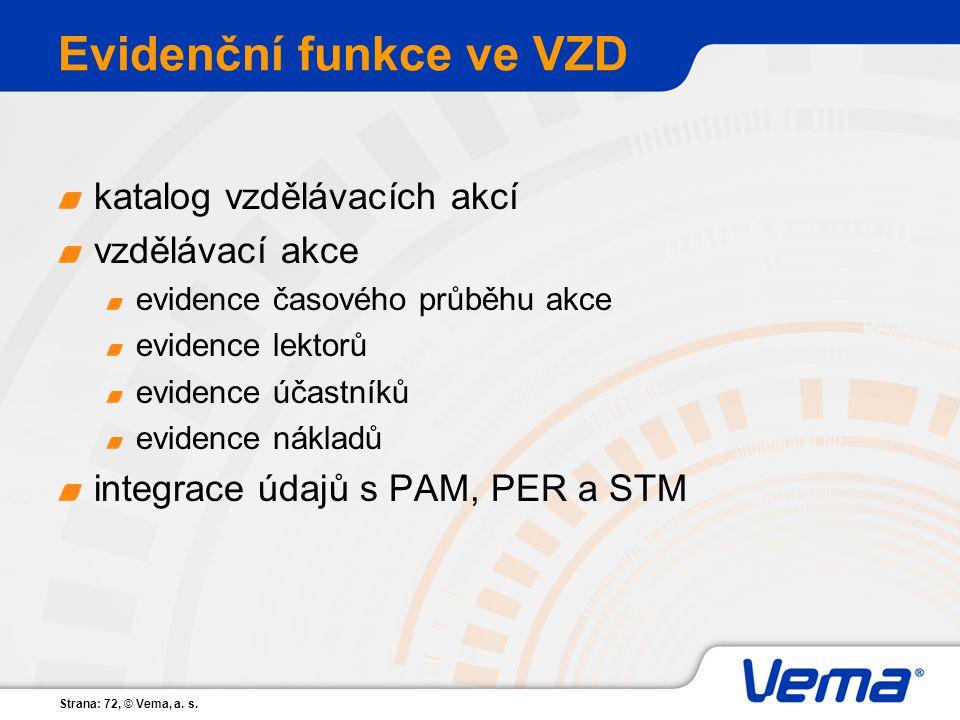 Strana: 72, © Vema, a. s. Evidenční funkce ve VZD katalog vzdělávacích akcí vzdělávací akce evidence časového průběhu akce evidence lektorů evidence ú