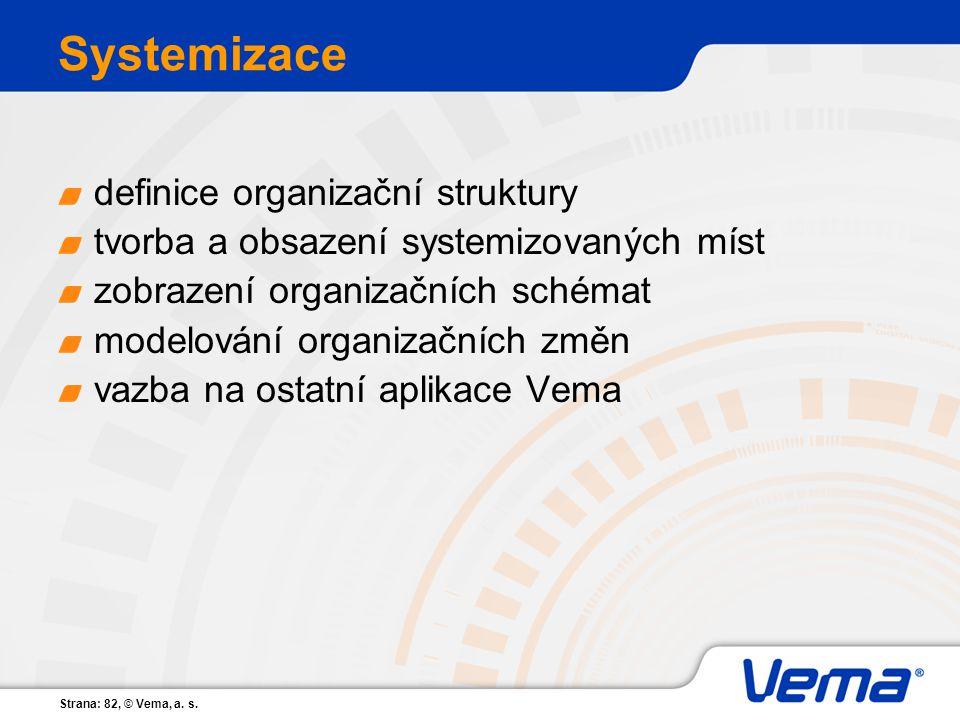 Strana: 82, © Vema, a. s. Systemizace definice organizační struktury tvorba a obsazení systemizovaných míst zobrazení organizačních schémat modelování
